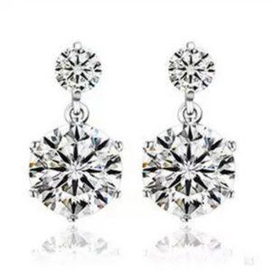 Sterling Silver Dangle Cubic Zirconia Earrings